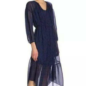 VINCE Brushstroke Silk Midi long Dress sheer flowy